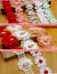 1 Yd Flower,Pearl, Satin Trim Wedding Embroidered Applique Diy Craft Sewing Lace
