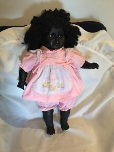 Vintage Large 60cm Black Doll Fuzzy Hair African Or Aboriginal Soft Body Doll