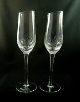(2) Angled Rim CRACKLE by Pier 1 One Fluted CHAMPAGNE Glasses 9 7/8""
