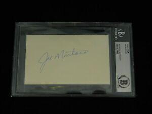 Joe Montana Full Sig Signed 3x5 Index Card Beckett Encapsulated 49ers NFL HOF
