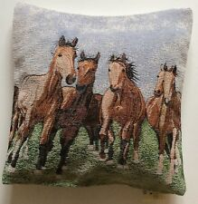 DELUXE CHENILLE WILD HORSES TAPESTRY CUSHION COVER HOME DECOR LOUNGE SOFA