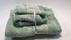 Bath Set (1) Wash Rag, (1) Hand Towel (1) Bath Towel Green with Lace Flowers