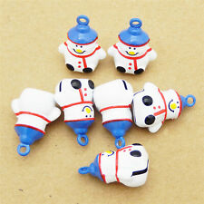 5pcs Colorful Brass White Snowman Jingle Bell Pendant Charms Jewelry Accessories