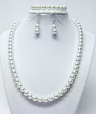 Glowing 8mm White Glass Pearl Necklace/Bracelet & Earrings Set