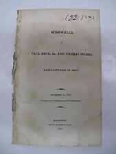 Government Document Pamphlet Paul Beck Jr. Thomas Sparks Shot Ammunition 1820