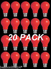 20 Pack RED Coloured Bayonet Party / Festoon Light Globes 25W B22