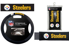 Pittsburgh Steelers Steering Wheel Cover Poly Mesh Suede Seat Belt Pads Gift Set
