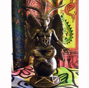 BAPHOMET STATUE Figure Ornament PAGAN WICCAN CELTIC GOD Occult Satan GOAT ALTAR
