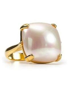 14k Yellow Gold over 925 Sterling Silver Pearl Ring Women Handmade Party Wear