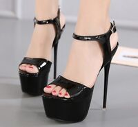 Super High Heels Women Open Toe Slingbacks Platform Stilettos Ankle Strap Shoes