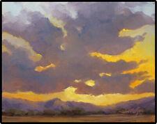 JEFF LOVE Art Original Oil Painting Southwest Sunset Sky Ready to Hang Landscape