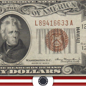 1934-A $20 HAWAII FRN WWII CURRENCY Fr 2305  L89416633A-HSO-US