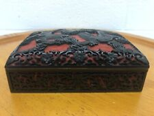 New listing Antique Deep Red And Black Chinese Cinnabar Box Dragon Carving