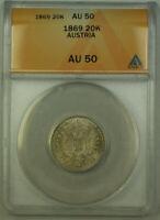 1869 Austria 20 Kreuzer Silver Coin ANACS AU-50 (Better Coin)