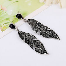 Fashion Retro Vintage Bohemian Leaf Leaves Drop Dangle Long Stud Earrings S