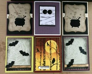 Set of 6 different handmade HALLOWEEN cards With Envelopes