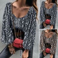 Women Vintage Snake Print Tops Puff Sleeve Square Neck Shirt Blouse Pullover Tee