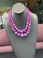 """Lucite 1970's Vintage Raspberry Pink Beaded Graduated necklace 2 Strand 18"""""""