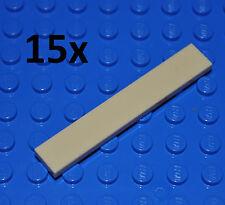 LEGO PARTS - 15X TAN TILES 1X6 STUDS/FLAT BUILDING PCS/SMOOTH/BEIGE/SAND 6636