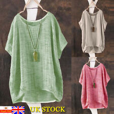 Plus Size Women Summer Short Sleeve Kaftan Cotton Tops Ladies Loose Blouse 6-24