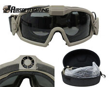 Tactical Eye Protective Regulator Goggle Sunglasses With Fan & 2 Lens TAN