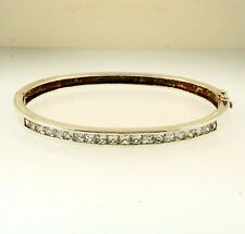 "Sterling Silver 6.75"" Princess Cut Simulated Diamond Hinge Bangle (4mm Wide)"