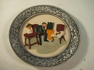 The Doctor House Call Ceramic Pewter Decorative Plate Sebastian Miniatures 1980
