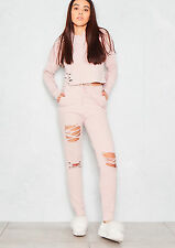 Womens Ladies Distressed Ripped Hooded Crop Top Joggers Loungewear Tracksuit Set