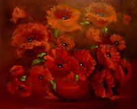 """Hawaii Artist Botanical """"Glowing Poppies"""" Original Oil Painting,Signed 16"""" x 20"""""""