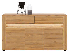 Sandy 3 Door Sideboard Cabinet Cupboard with 2 Drawers and LEDs in Grandson Oak