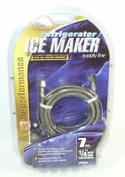 """Refrigerator Ice Maker 7ft Stainless Steel Water Supply Line 1/4"""" Ends"""