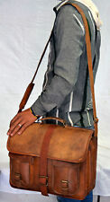 Men's Messenger Genuine Vintage Leather Shoulder Laptop Bag - Mens Leather Bags