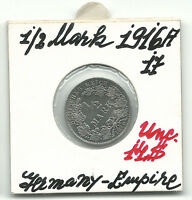 Germany Empire 1/2 Mark Silver Coin 1916 A KM 17 UNC World Coin Rare Reich