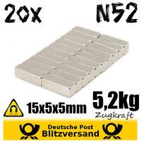 20x Neodym Magnet Quader 15x5x5mm 5kg Zugkraft N52 - Magnetset kleine Magnete