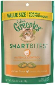 FELINE GREENIES SMARTBITES Hairball Control Chicken Flavor Treats for Cats 4.6oz
