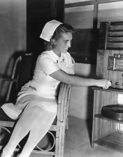 WW2 Photo WWII US Military Nurse Listens to Radio World War Two  / 1216