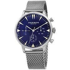 Men's Akribos Xxiv Ak1027Bu Chronograph Date Silver / Blue Mesh Bracelet Watch