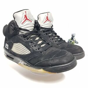 NIKE Air Jordan 5 Retro Basketball Shoes Black Metallic 136027-010 11 M Resto