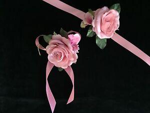 Brautjungfern Blumen Armband Satin Bändchen Rosa Nedime Bilekligi Rosen Hochzeit