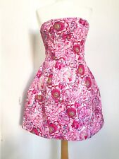 Women's TOPSHOP Rose Print Pink Purple Lantern Tulip Strapless Dress. UK 10.