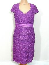 A18 Jacques Vert Purple Embellished Lace Dress Uk Size 10 MOB Cruise Races