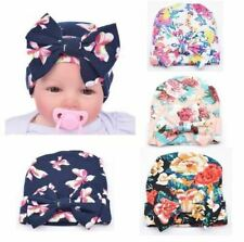 4 Pack Flower Bonnet Hat Cap with Big Hair Bow Turban Headwrap for Baby Girl