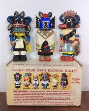 Vintage One of a Kind Hand Painted Indian Kachina Dolls Set of 3 - Beautiful!