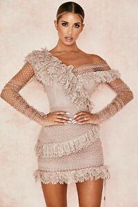 HOUSE OF CB *FAULTY* 'Sorrel' Blush Lace Frill Mini Dress XS S M L L+ MM