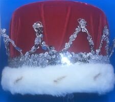 Red Royal Imperial King Hat / Crown - Plush red velvet with Silver Ornaments