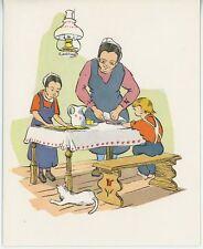 VINTAGE FOLK ART WHITE CAT WOMAN COOKING KITCHEN LAMP CAKE RECIPE CARD ART PRINT