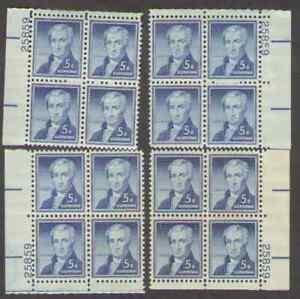 US. 1038. 5c. James Monroe, 4 Matched Position PB4 #25859. MNH 1954