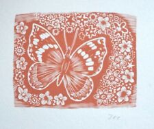 THE BUTTERFLY By John O'Connor RARE SIGNED Original Woodcut / Woodblock Print