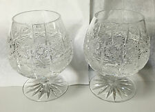 """2 PC  BOHEMIAN CRYSTAL HAND CUT CUP CLEAR COGNAC/BRANDY SNIFTERS """"NEW"""""""