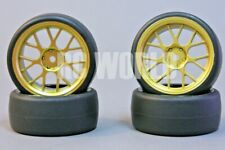 RC Car 1/10  DRIFT WHEELS TIRES Package 3MM Offset  GOLD SnowFlake *SET OF 4*